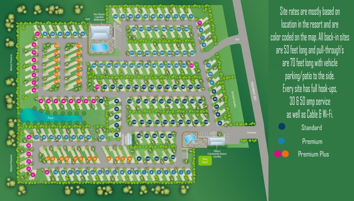 Overhead map and illustration of the Port A RV Resort property in Port Aransas Texas